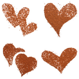 Cocoa dust Heart shape isolated